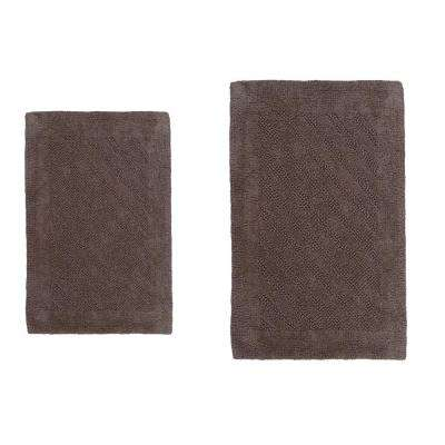 Stone 21 in. x 34 in. and 24 in. x 40 in. Shooting Star Reversible Bath Rug Set (2-Piece)