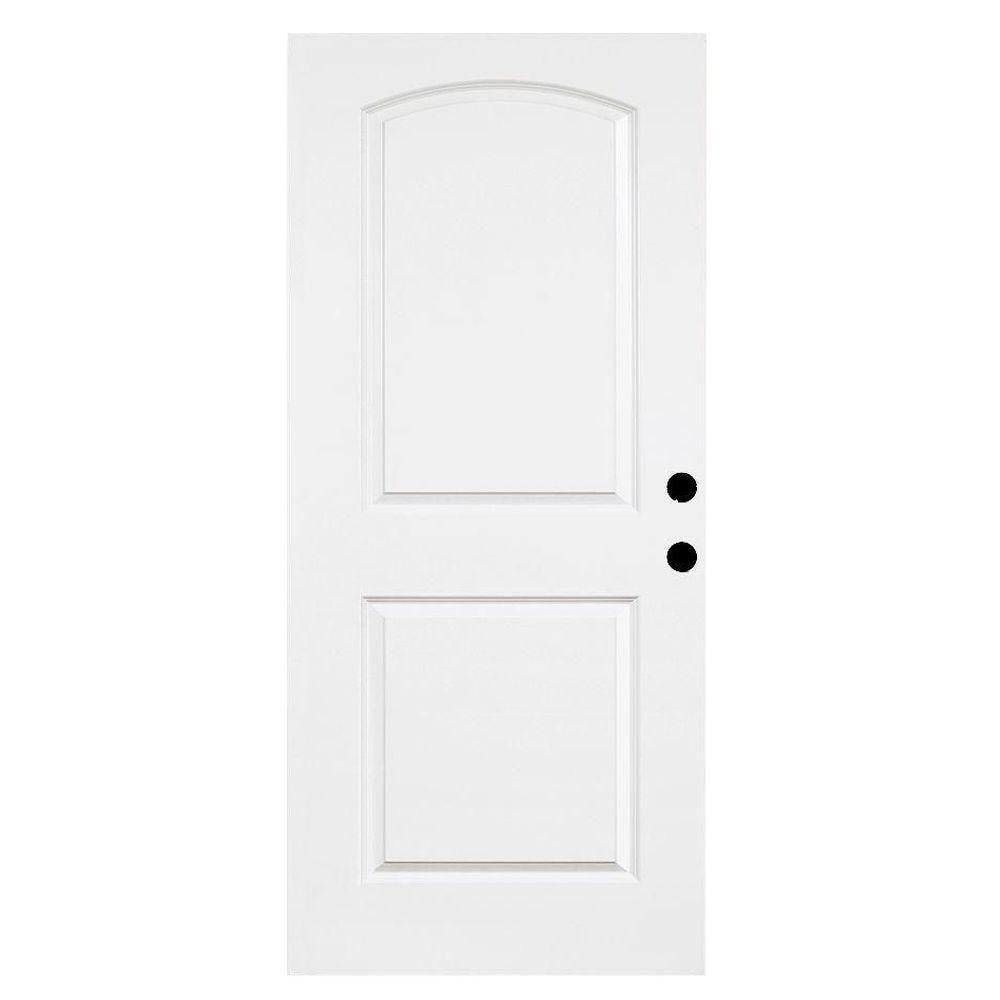 Steves & Sons 36 in. x 79 in. Premium White 2-Panel Arch Primed Steel Front Door Slab