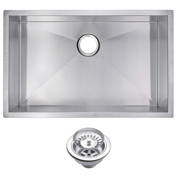 Undermount Stainless Steel 30 in. Single Bowl Kitchen Sink with Strainer in Satin