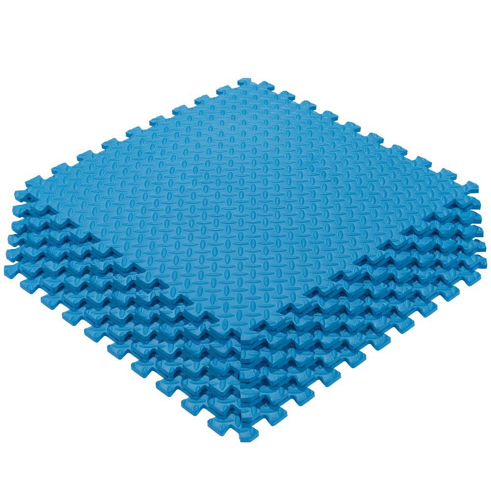 Ottomanson Multi-Purpose Blue 24 in. x 24 in. EVA Foam Interlocking Anti-Fatigue Exercise Tile Mat (6-Pack)