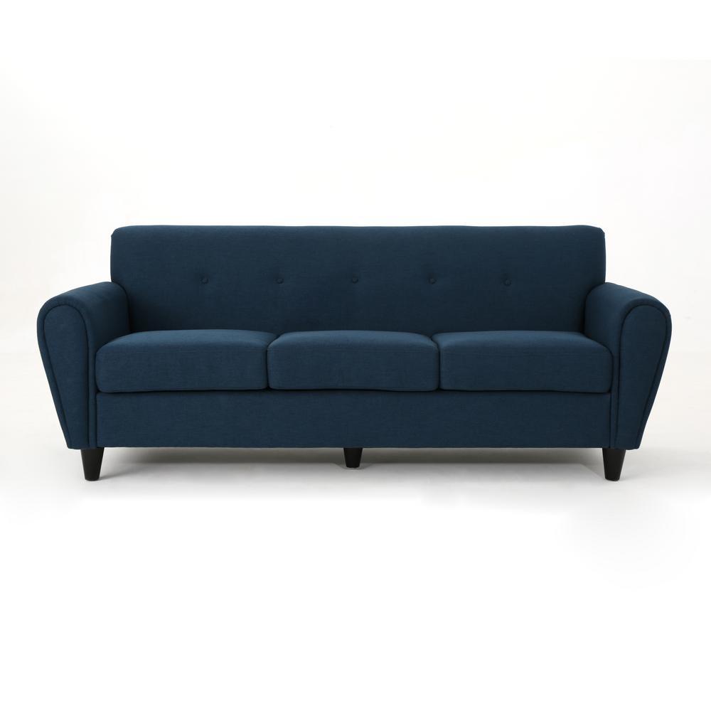 3-Seat Navy Blue Fabric Sofa