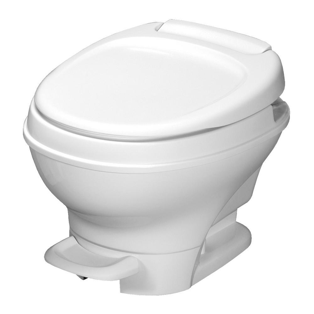 Aqua-Magic V RV Low Portable Toilet Foot Pedal Flush - White