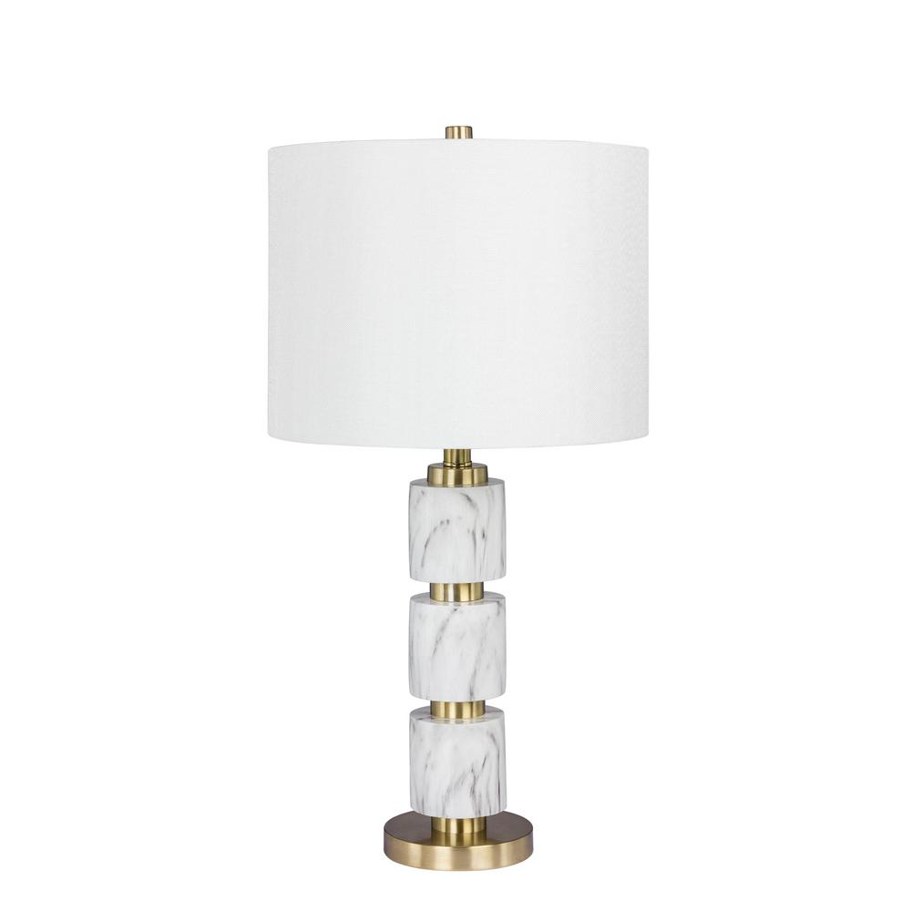 Fangio Lighting 27 in. Stacked Smooth Resin and Metal Table L& in a White  sc 1 st  The Home Depot & Fangio Lighting 27 in. Stacked Smooth Resin and Metal Table Lamp ... azcodes.com
