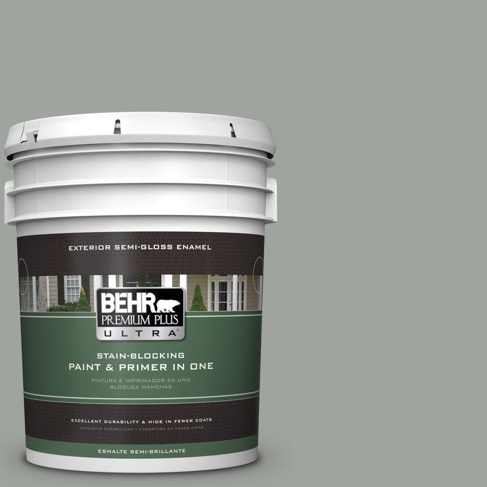 5-gal. #710F-4 Sage Gray Semi-Gloss Enamel Exterior Paint