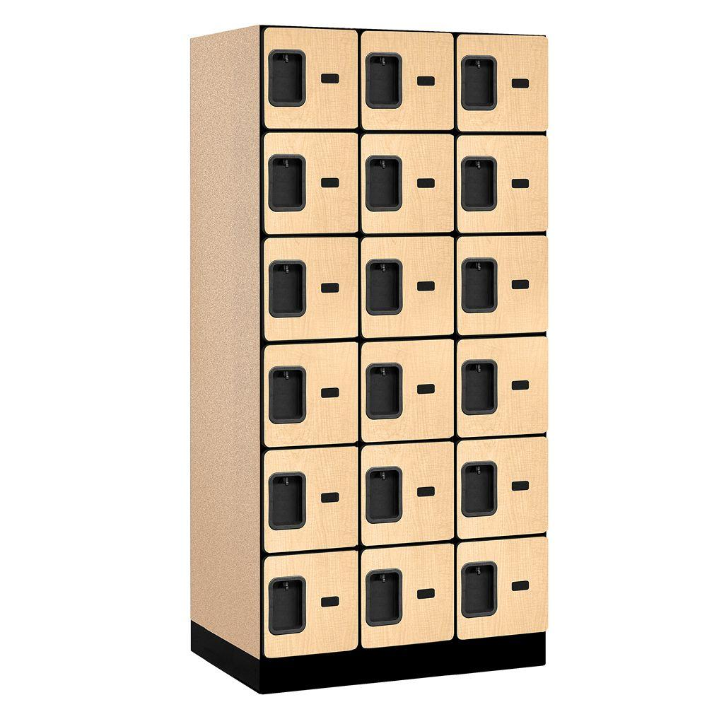 Salsbury Industries 36000 Series 36 in. W x 76 in. H x 21 in. D 6-Tier Box Style Designer Wood Locker in Maple