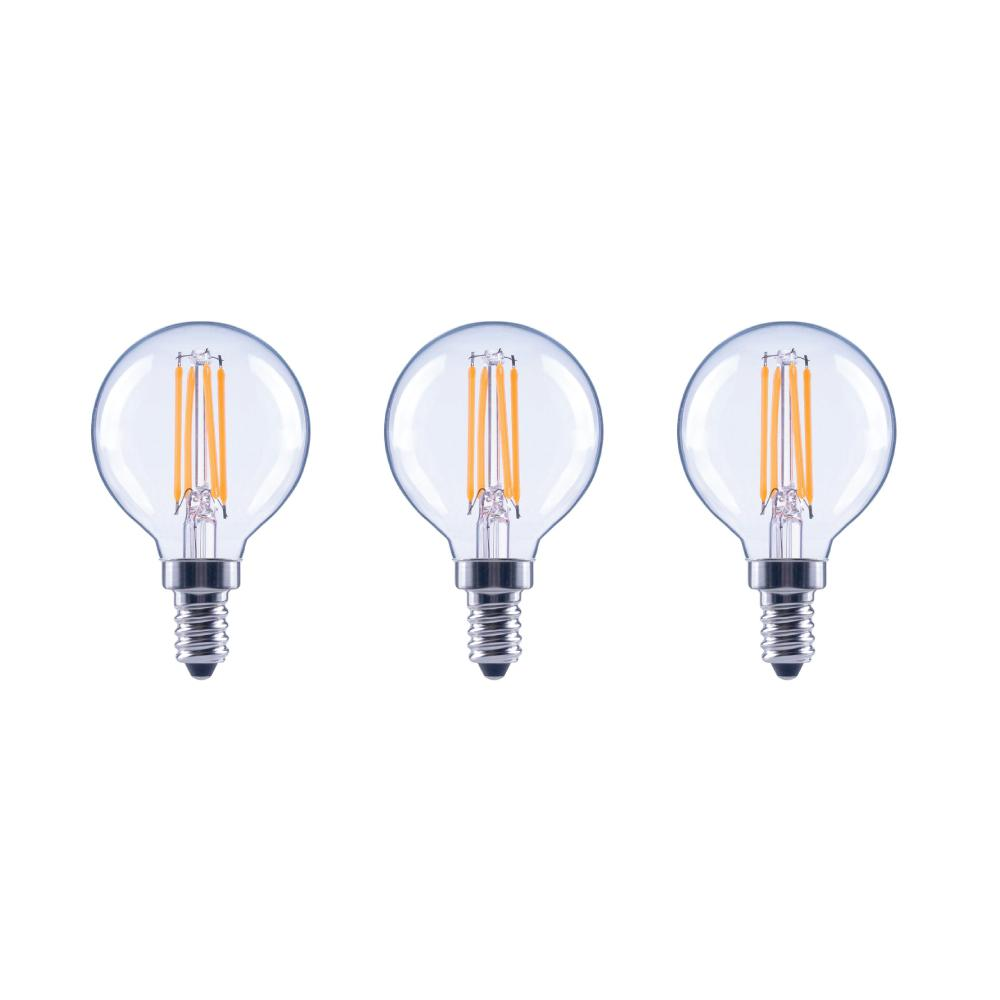 EcoSmart 60-Watt Equivalent G16.5 Globe Dimmable Energy Star Clear Glass Filament Vintage LED Light Bulb Daylight (3-Pack)
