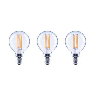 60-Watt Equivalent G16.5 Globe Dimmable Energy Star Clear Glass Filament Vintage LED Light Bulb Daylight (3-Pack)