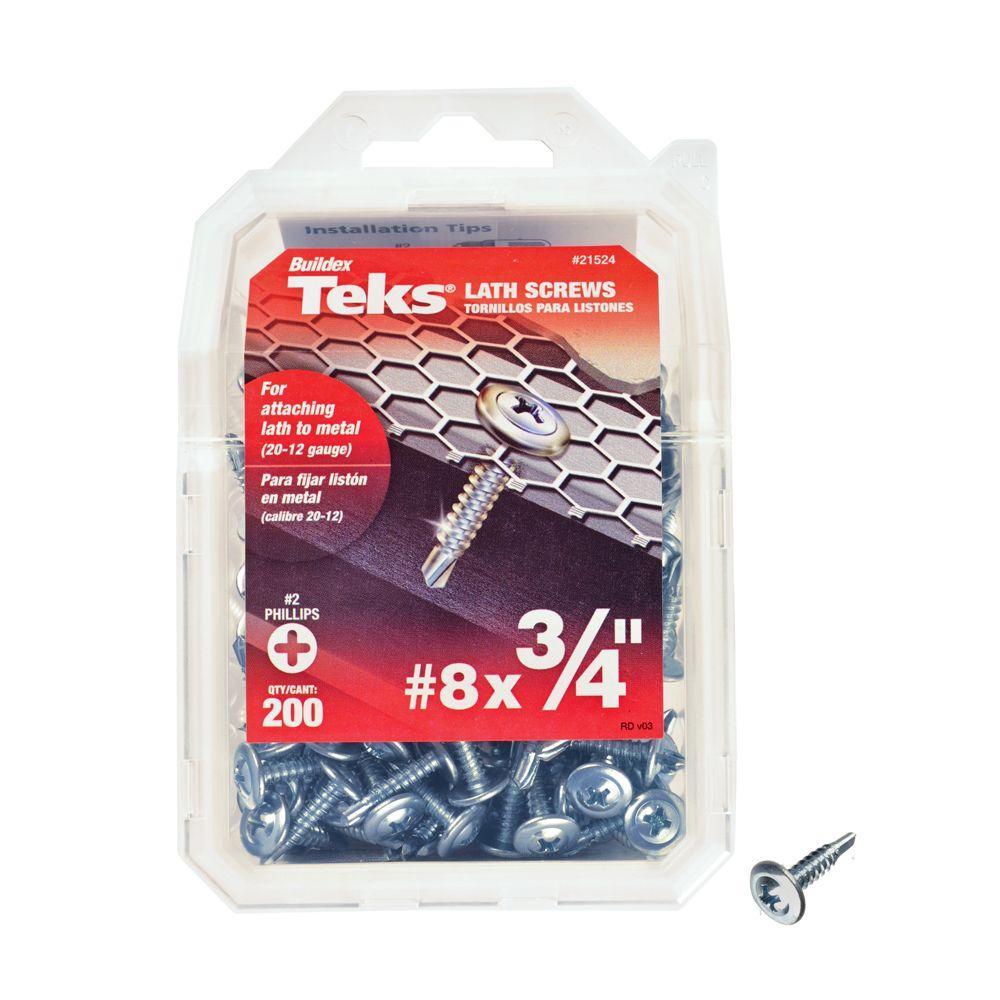 Teks #8 x 3/4 in. Zinc Plated Steel Truss-Head Philips Drill Point Lath Screws (200-Pack)
