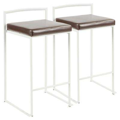 Fuji 26 in. White Stackable Counter Stool with Brown Faux Leather Cushion (Set of 2)