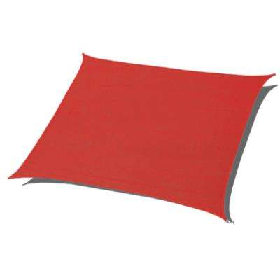 10 ft. x 10 ft. Red Square Sun Shade Sail 185 GSM UV Block for Patio Deck Back Yard and Outdoor Activities