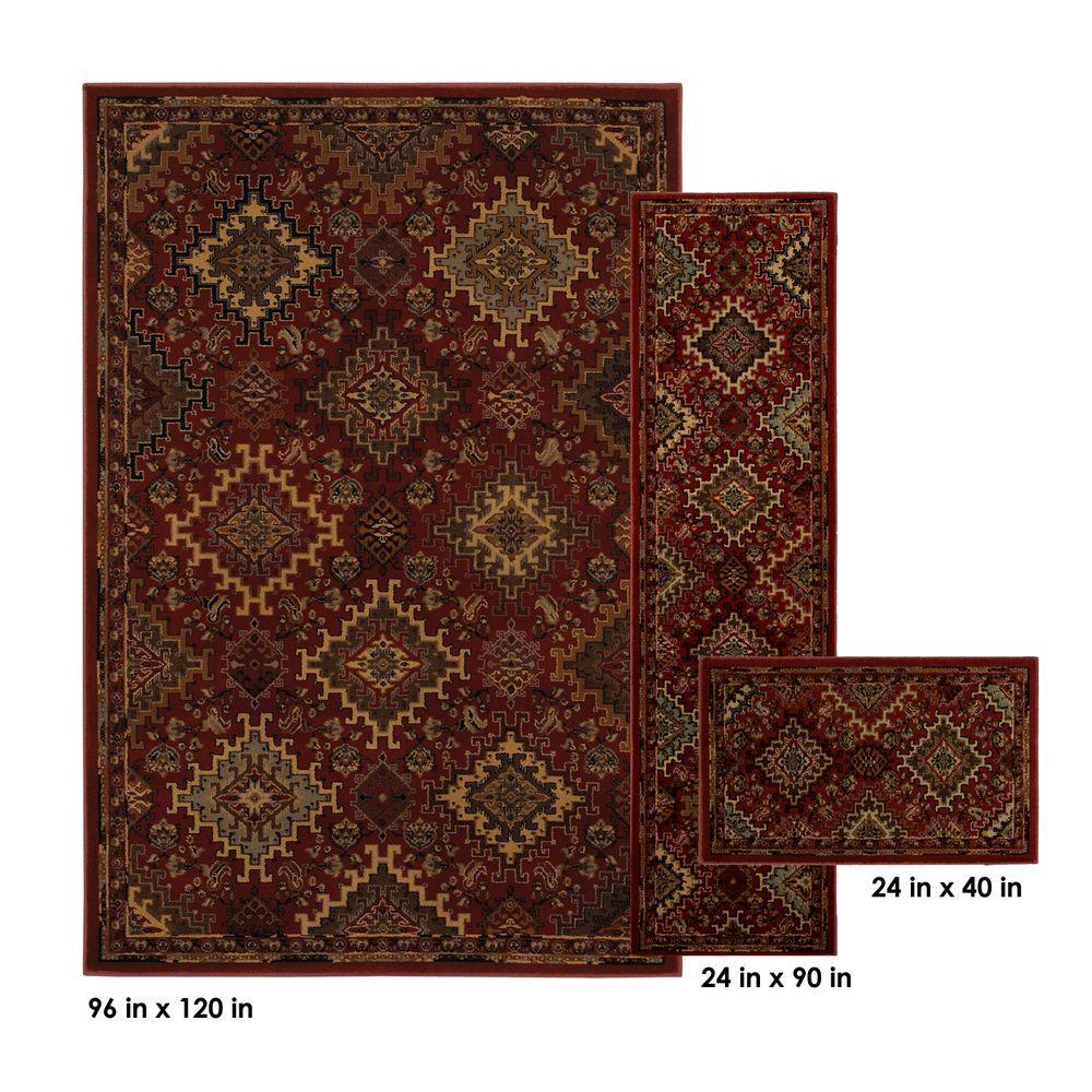 Mohawk Home Ankara Ruby 8 ft. x 10 ft. 3 Piece Rug Set
