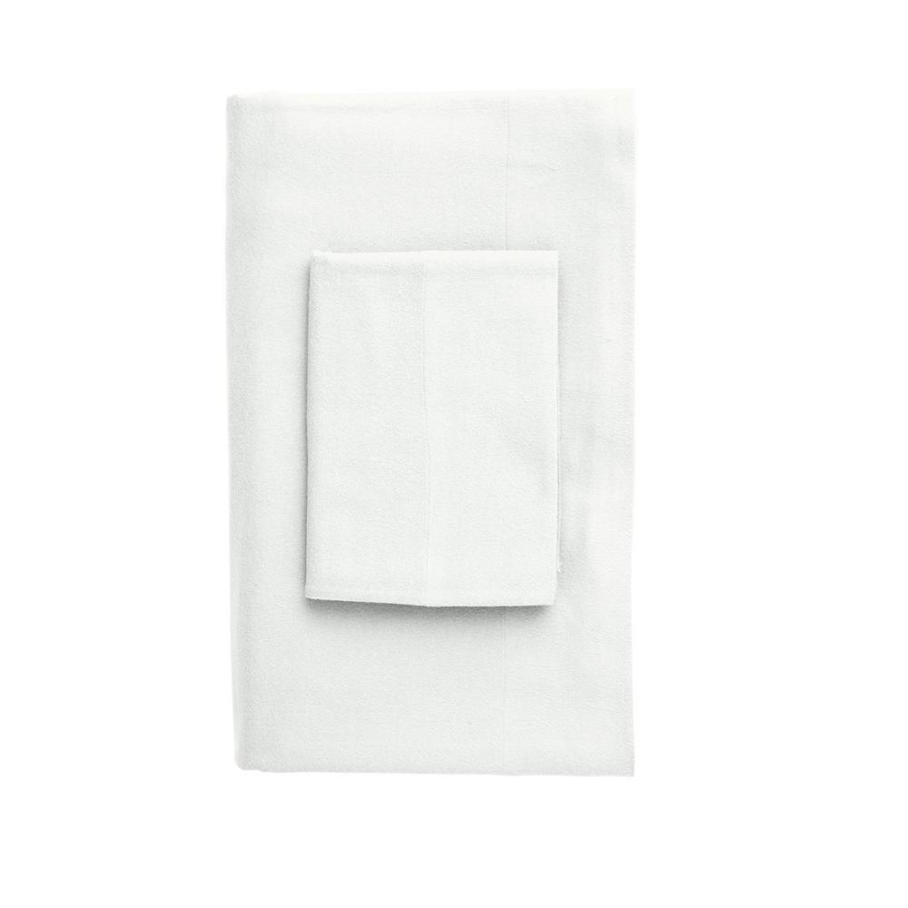 The Company Store Velvet Flannel White Cotton King Pillowcase (Set of