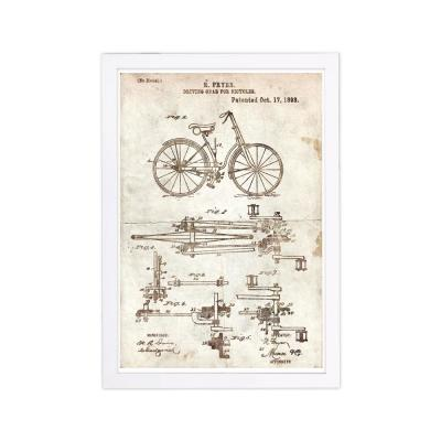 Fryer Driving Gear for Bicycle 1893 Parchment' by Wynwood Studio Framed Home Art Print 19 in. x 13 in.