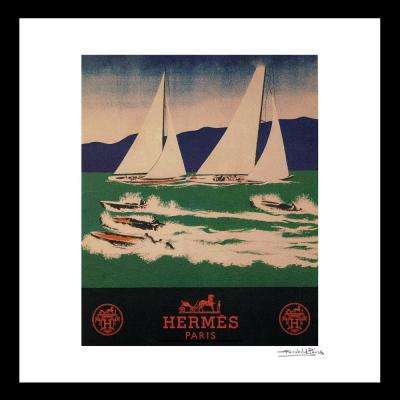"""16 in x 16 in"" ""Sailing"" Vintage Hermes Travel Ad by Fairchild Paris Framed Printed Wall Art"