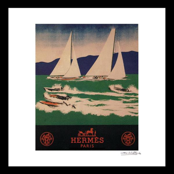 """16 In X 16 In"" ""Sailing"" Vintage Hermes Travel Ad By Fairchild Paris Framed Printed Wall Art by Luxe West"