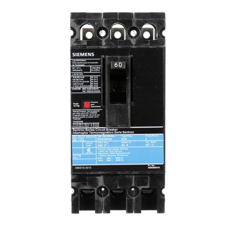 60 Amp 3-Pole Type ED 18 kA Circuit Breaker