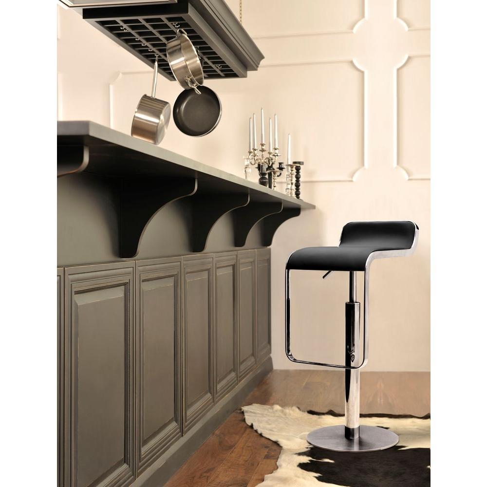 zuo adjustable height black bar stool