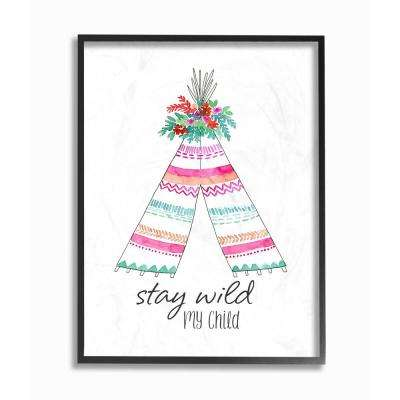 """11 in. x 14 in. """"Stay Wild My Child Tent"""" by Elise Engh Wood Framed Wall Art"""