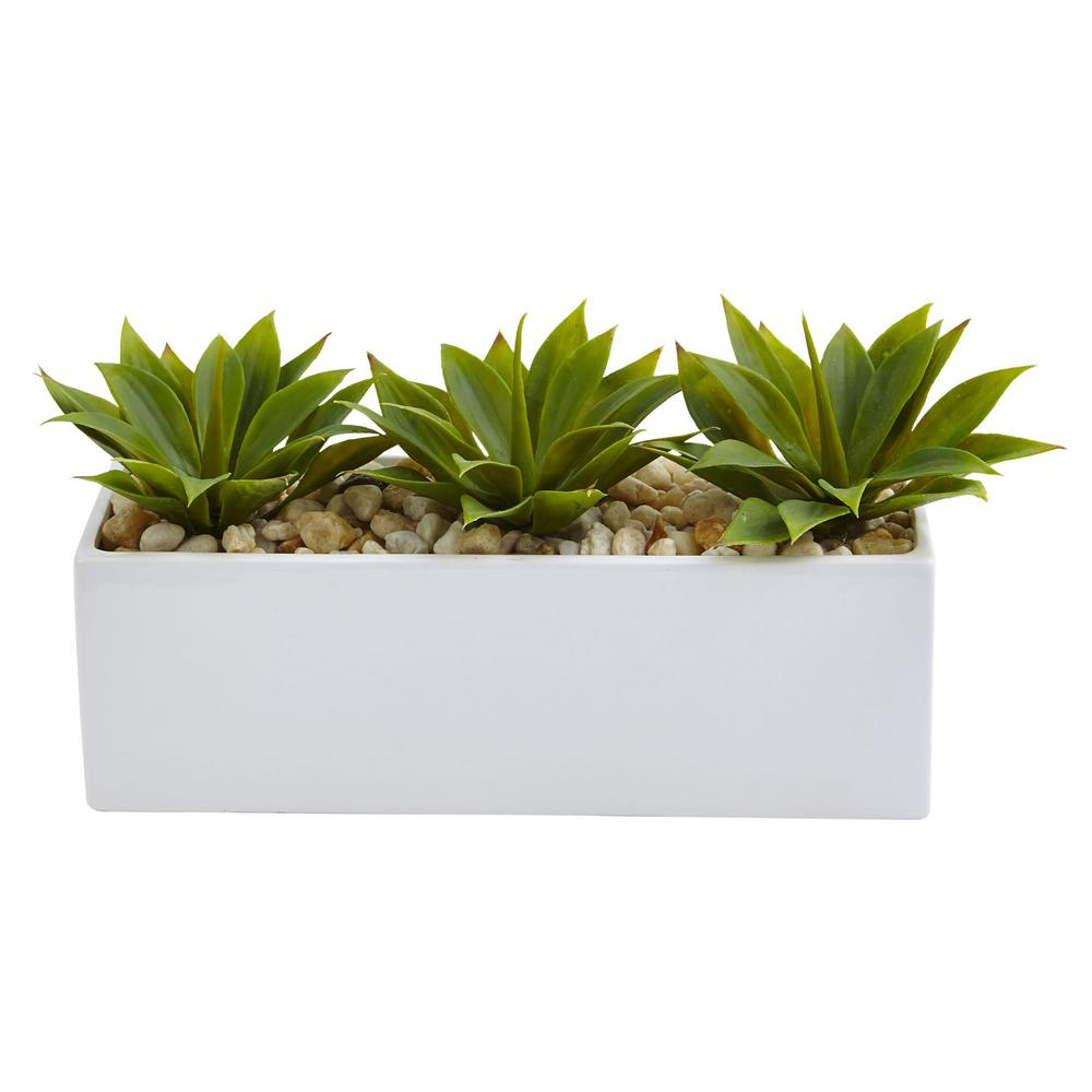 Nearly natural 7 in agave succulent in rectangular planter 6916 the home depot - Rectangular succulent planter ...