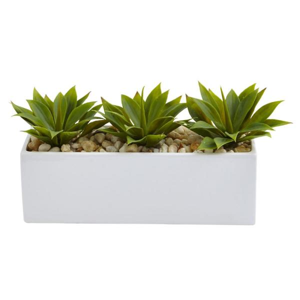 Nearly Natural 7 in. Agave Succulent in Rectangular Planter 6916