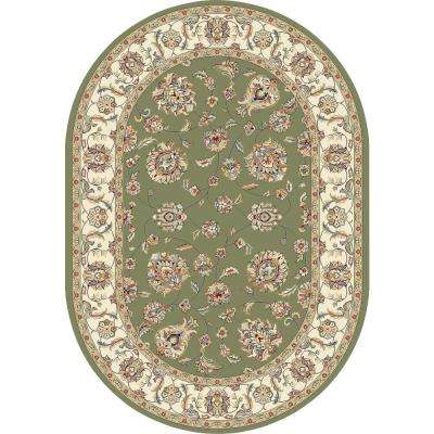 Judith Green/Ivory 5 ft. x 8 ft. Oval Indoor Area Rug