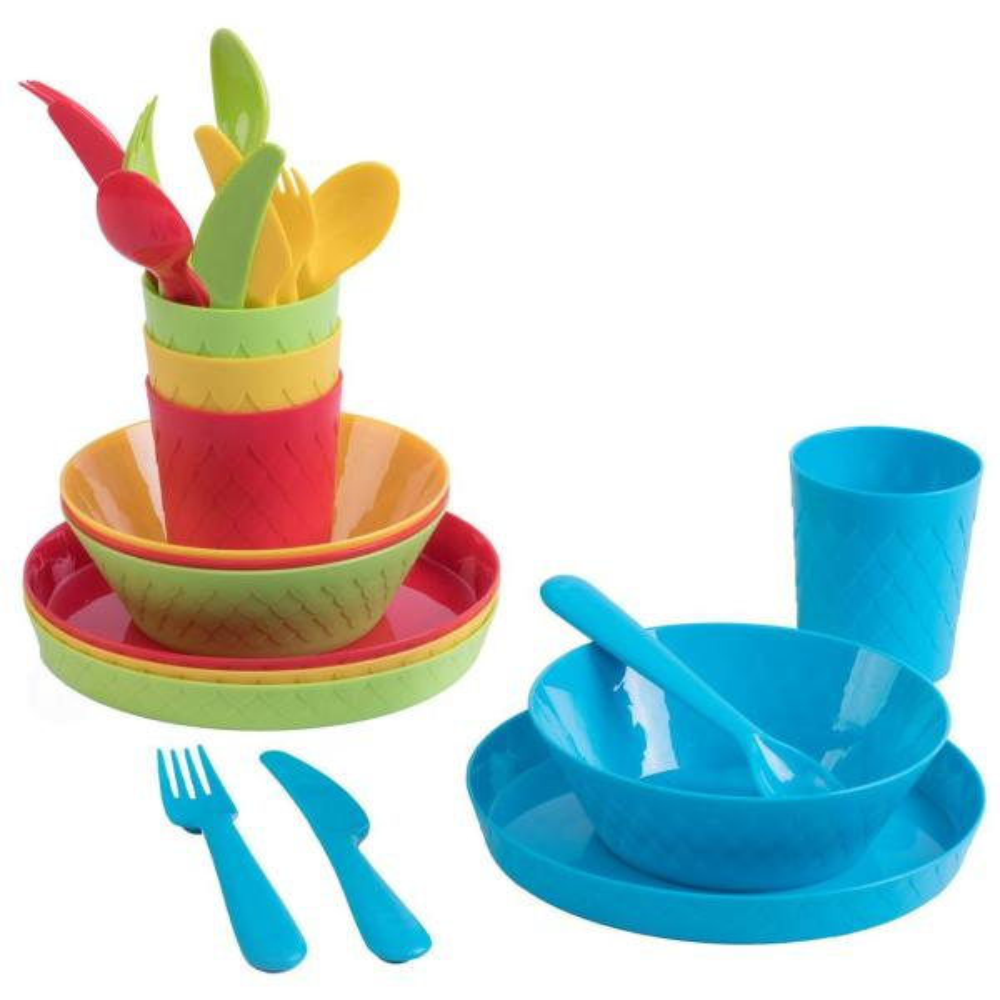 Basicwise 24-Piece Kids Dinnerware Set Plastic 4 Plates, 4 Bowls, 4