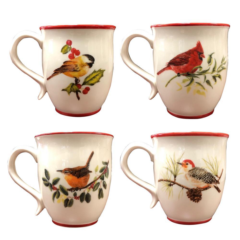 20 fl.oz. Winter Birds Multicolor Ceramic Coffee Mug (Set of 4)
