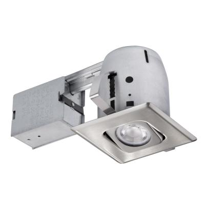 4 in. Brushed Steel Recessed Square Directional Lighting Kit