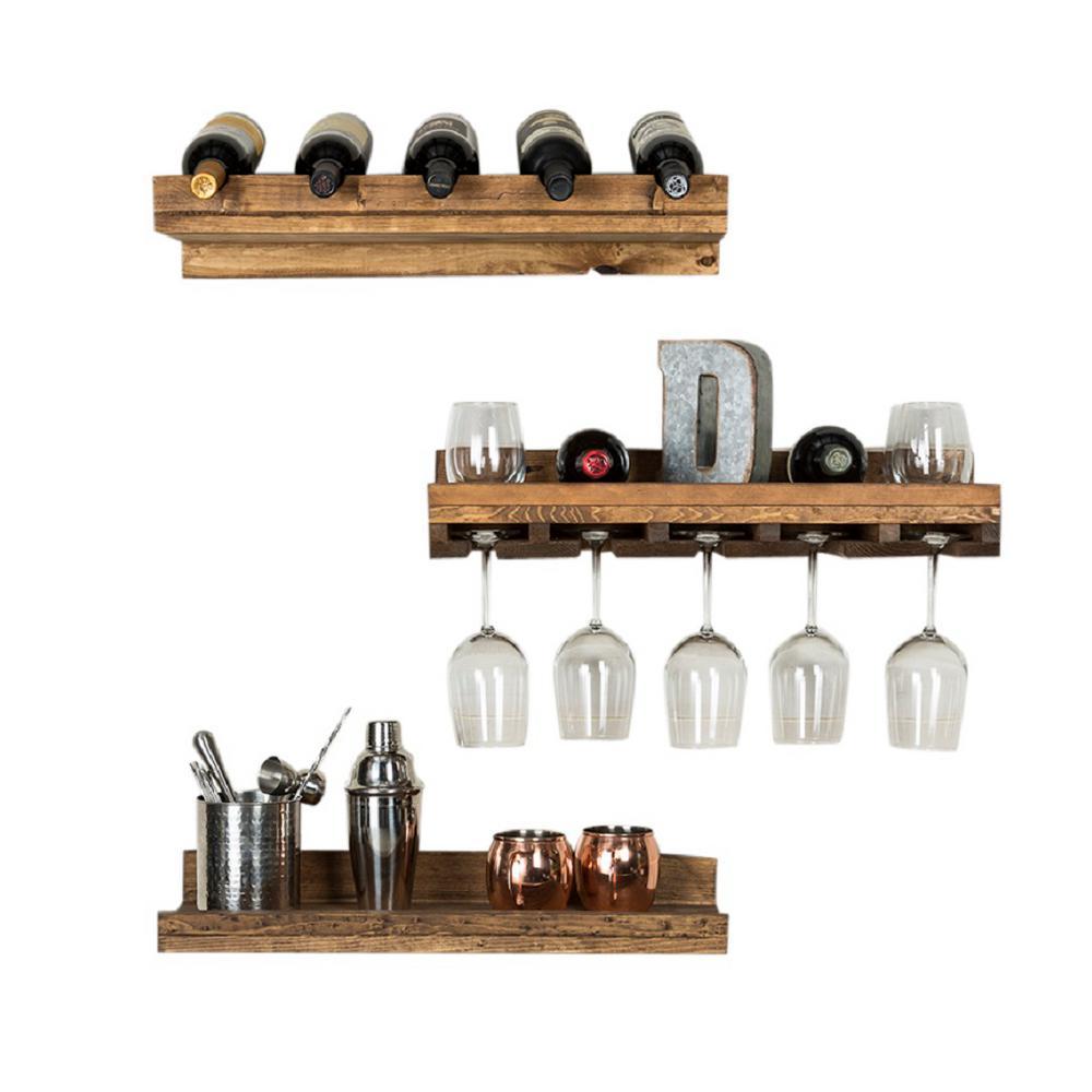 Del Hutson Designs Rustic Luxe 5-Bottle Dark Walnut Wood Wall Mounted