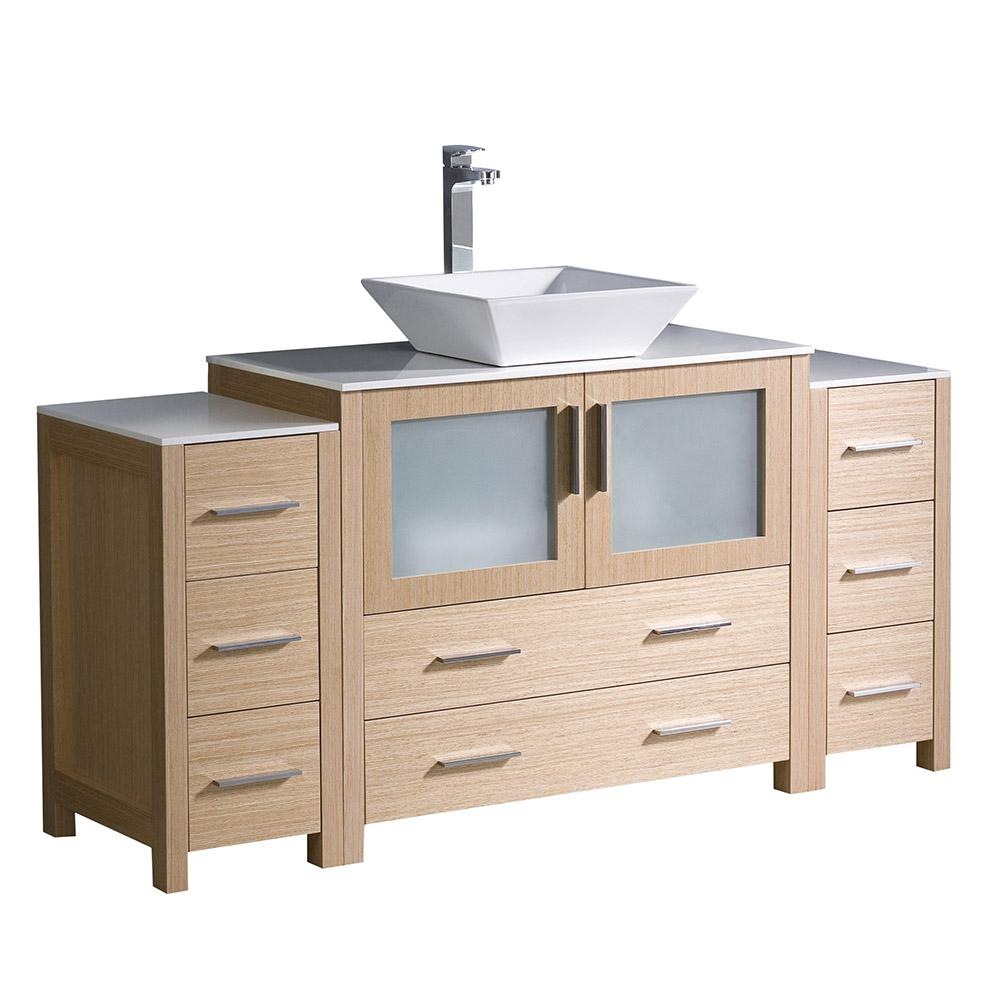 Torino 60 in. Bath Vanity in Light Oak with Glass Stone