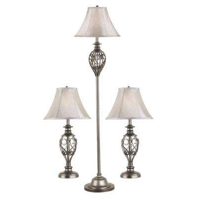 Cerise 27 in. Silver 2-Table and 1-Floor Lamp Set