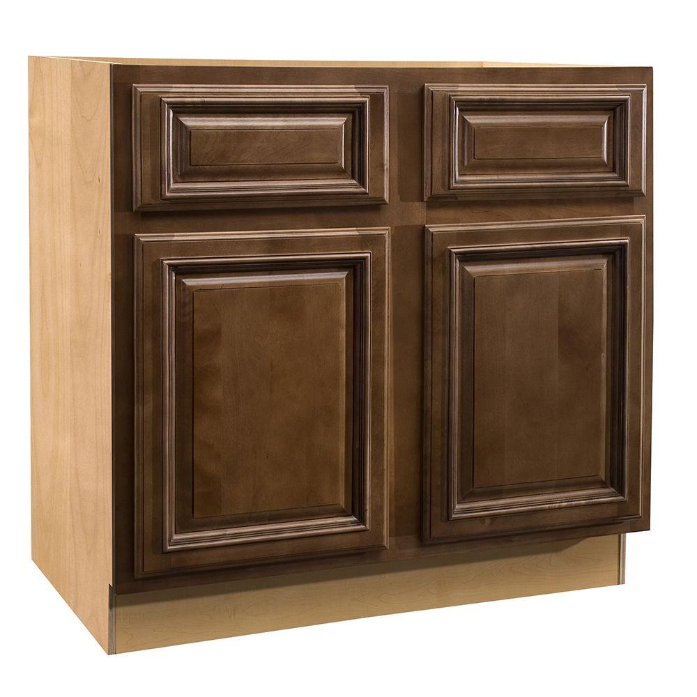 Home Decorators Collection Assembled 36x34.5x24 in. Sink Base Cabinet with False Drawer Front in Huntington Chocolate Glaze