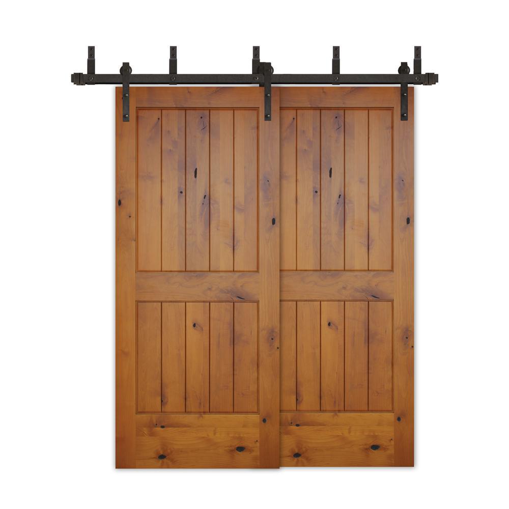 60in.x80in.Bypass Rustic Pref 2-PNL V-Groove Solid Core Knotty Alder Wood Barn Door with Bronze Sliding Door HardwareKit