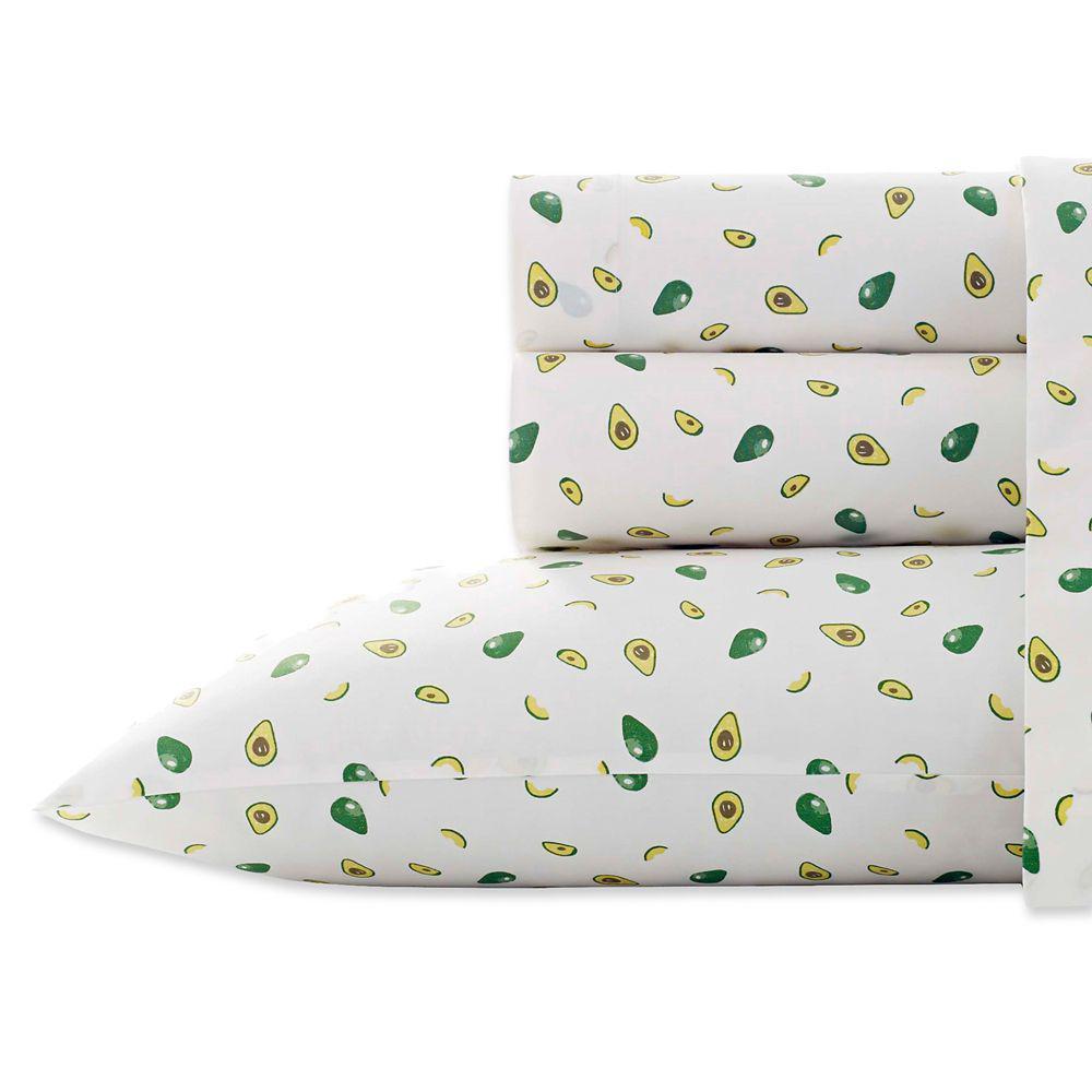 Poppy & Fritz Avocados 4-Piece Green 200 Thread Count Queen Sheet