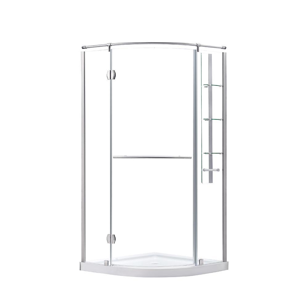 Glamour 38 in. x 73.90 in. Semi-Frameless Corner Hinged Shower Door in Satin Nickel