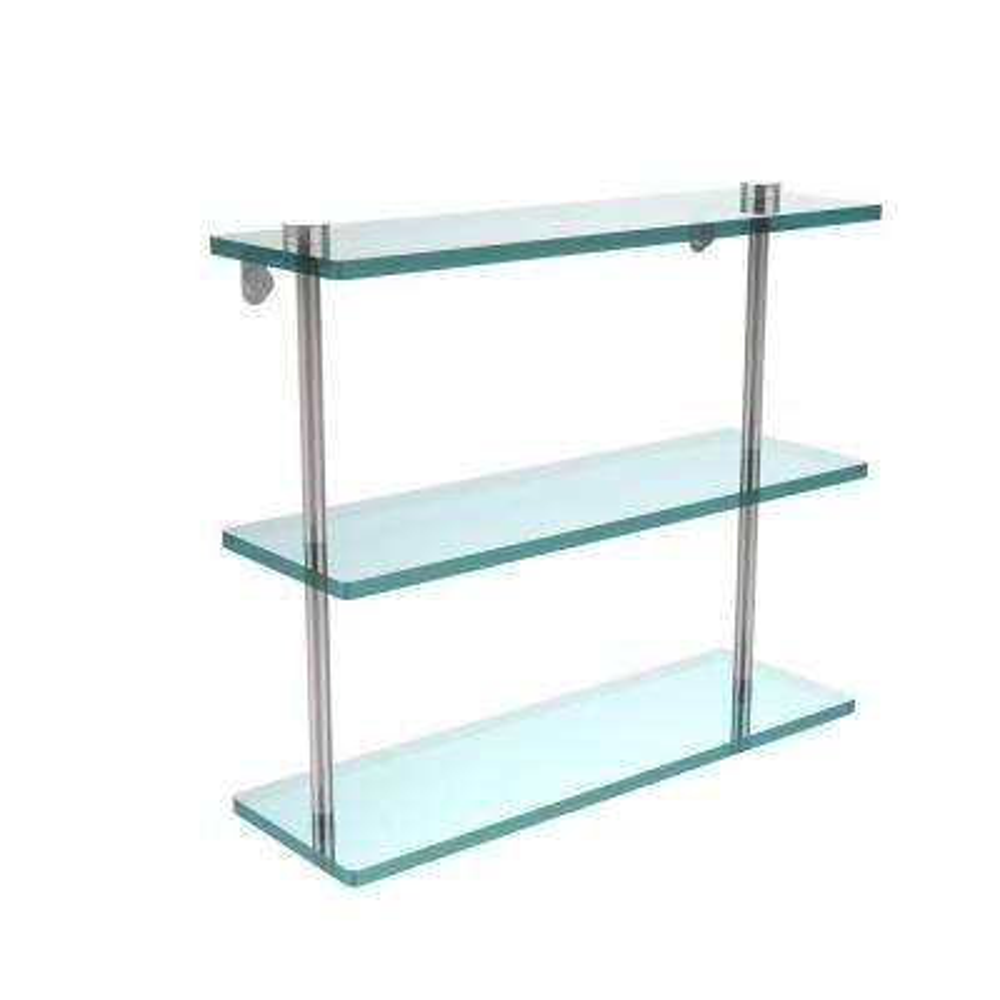 16 in. L x 15 in. H x 5 in. W 3-Tier Clear Glass Bathroom Shelf in Polished Chrome