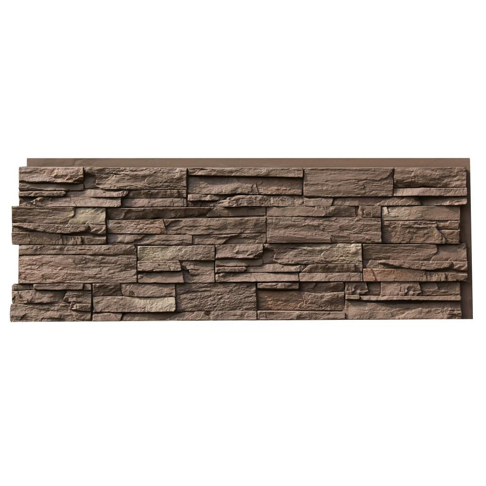 Country Ledgestone 43.5 in. x 15.5 in. Faux Stone Siding Panel in Himalayan Brown (4-Pack)