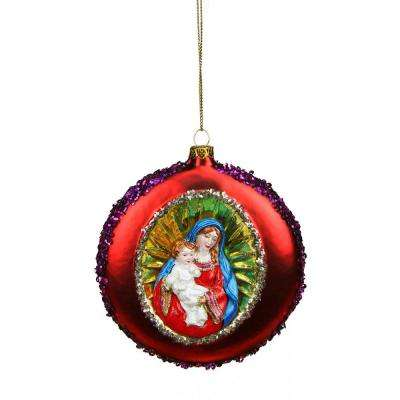 4 in. Mary and Baby Jesus Sequin Religious Christmas Glass Disc Ornament