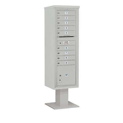 3400 Horizontal Series 9-Compartment 1-Parcel Locker Pedestal Mount Mailbox