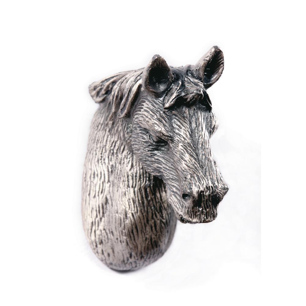 1.25 in. Horse Design Pewter Cabinet Knob
