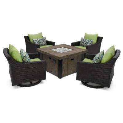 Deco Motion 5-Piece Wicker Patio Fire Pit Conversation Set with Sunbrella Ginkgo Green Cushions
