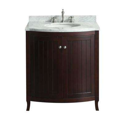 Odessa Zinx 30 in. W x 22.50 in. D x 34 in. H Vanity in Teak with Carrera Marble Vanity Top in White with White Basin
