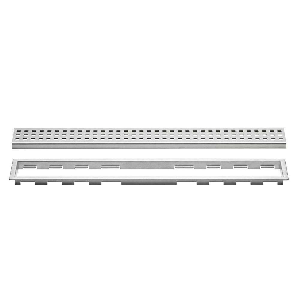 Schluter Kerdi Line Brushed Stainless Steel 43 5 16 In Perforated Grate Assembly With 3 4 In Frame Kl1b19eb110 The Home Depot