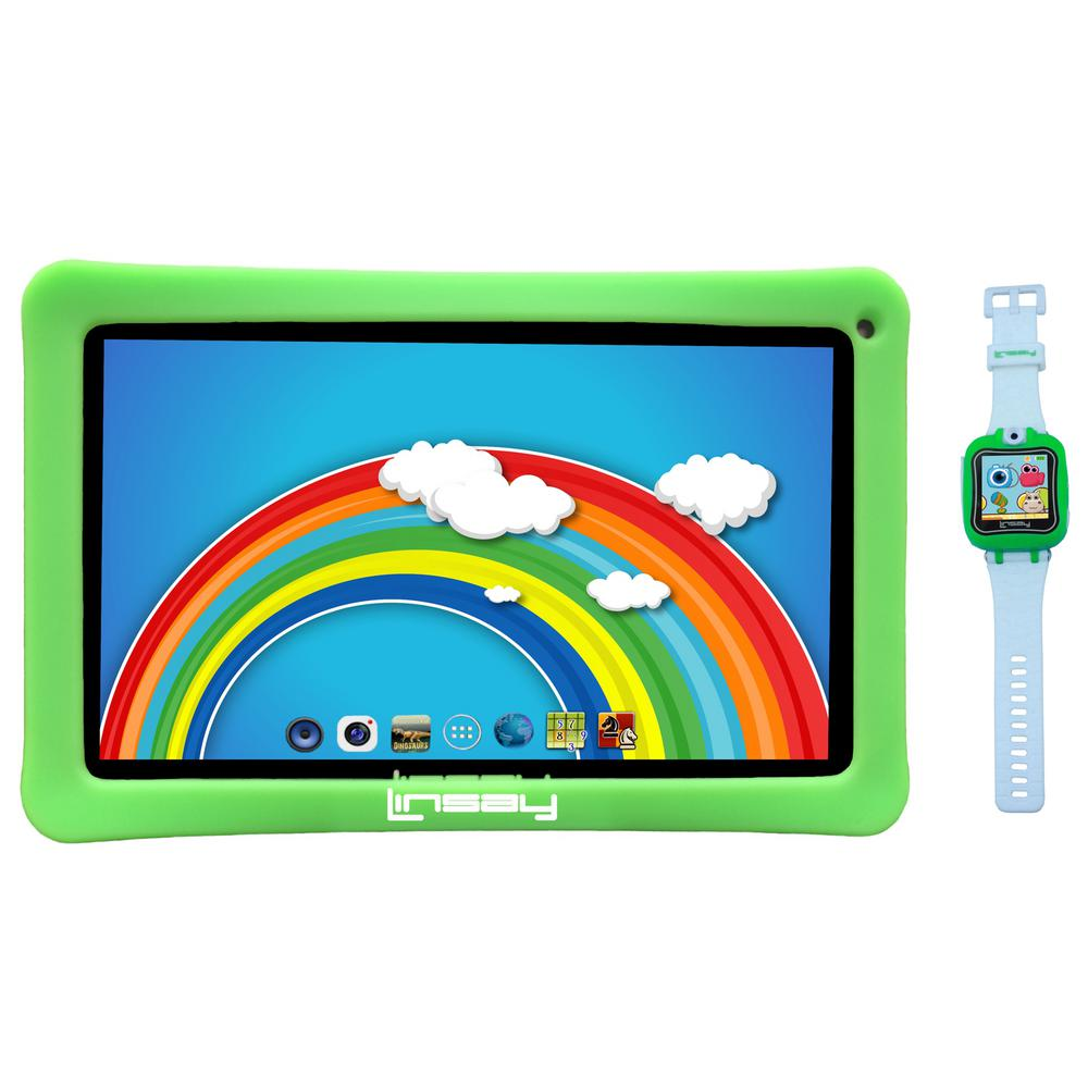 LINSAY 10.1 in. 2GB RAM 16GB Android 9.0 Pie Tablet with Green Kids Defender Case and Green Kids Smart Watch was $249.99 now $109.99 (56.0% off)