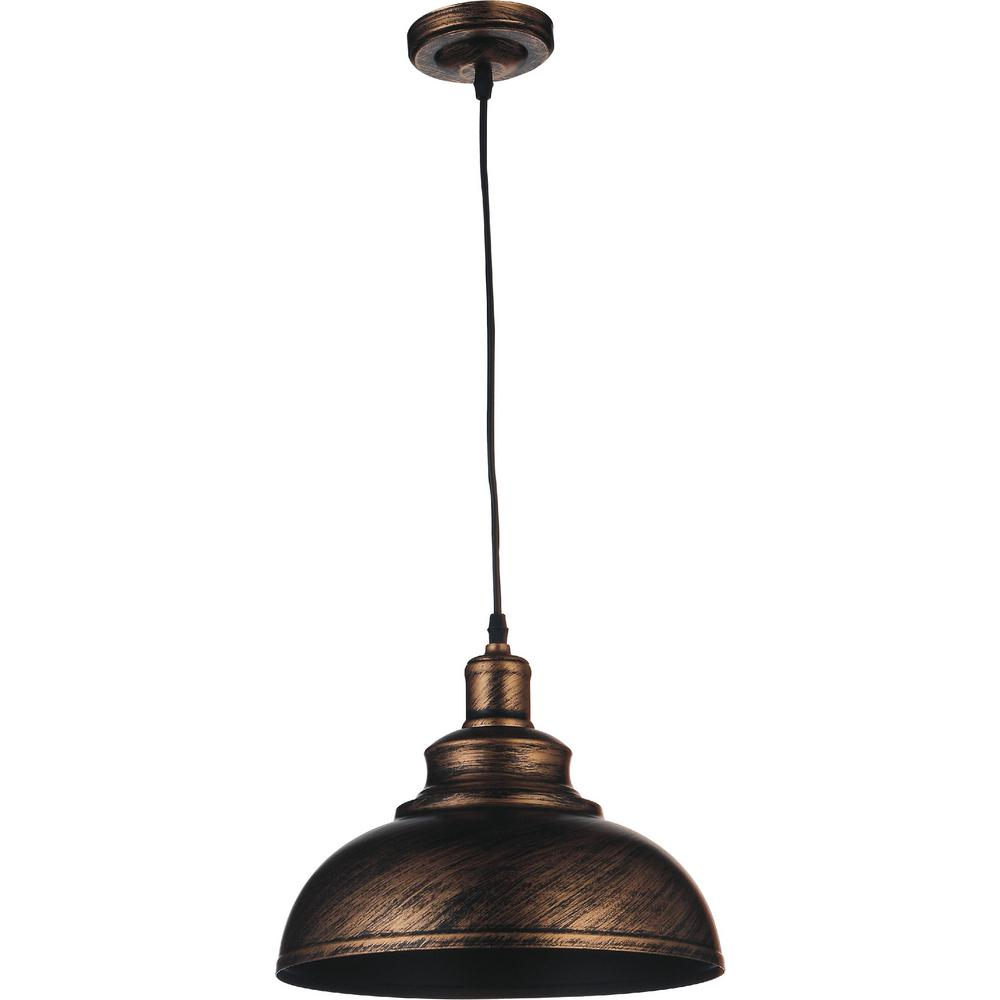 null Vogel 1-Light Antique Copper Chandelier - Vogel 1-Light Antique Copper Chandelier-9612P15-1-128 - The Home Depot