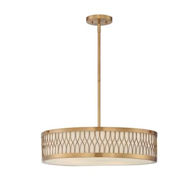 5-Light Warm Brass Pendant with Pale Cream Glass Shade