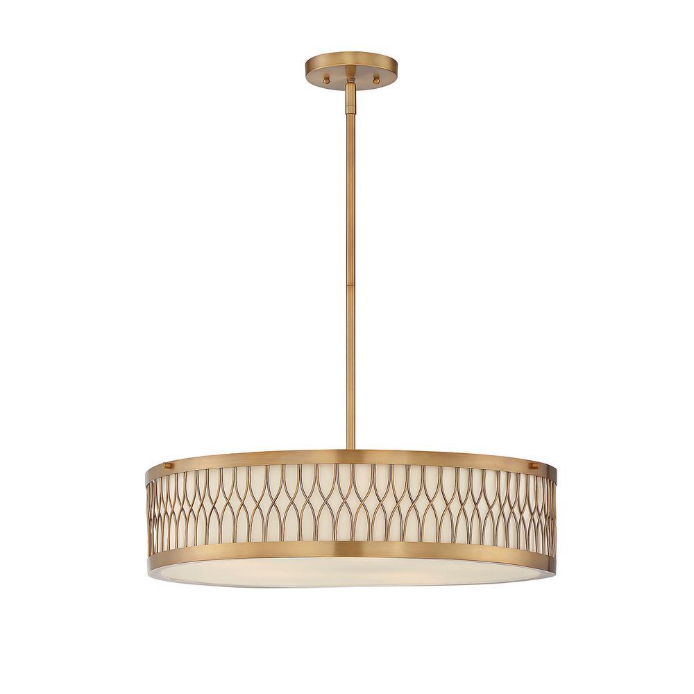 5-Light Warm Brass Pendant with Pale Cream Glass Shade