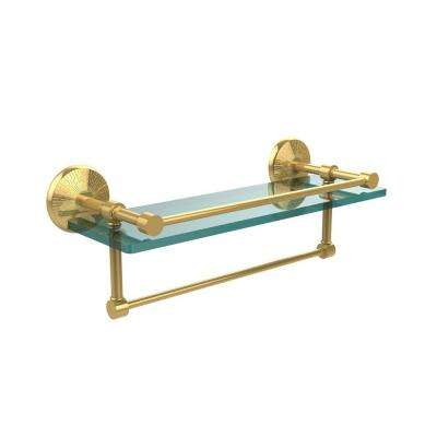 Monte Carlo 16 in. L  x 5 in. H  x 5 in. W Clear Glass Bathroom Shelf with Towel Bar in Polished Brass