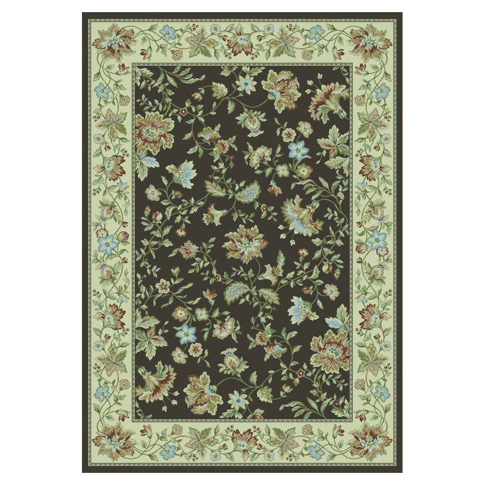 Kas Rugs Jubilee Floral Mocha/Ivory 3 ft. 3 in. x 4 ft. 7 in. Area Rug-DISCONTINUED