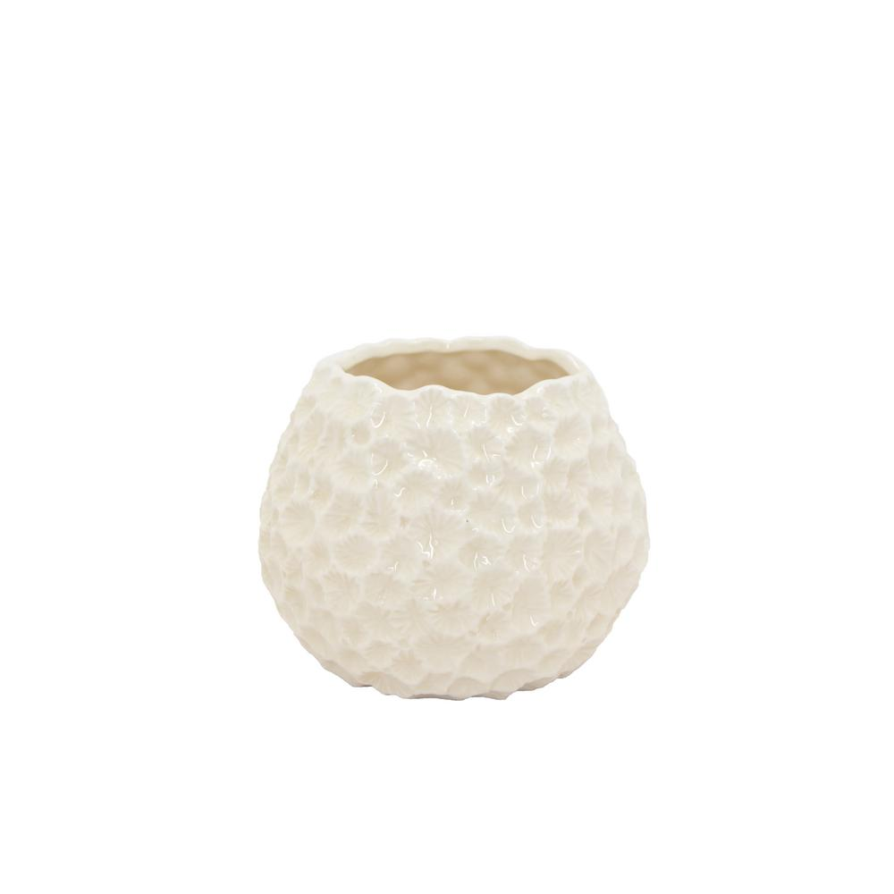 Three Hands Decorative White Ceramic Vase With Glossy 72693 The Home Depot
